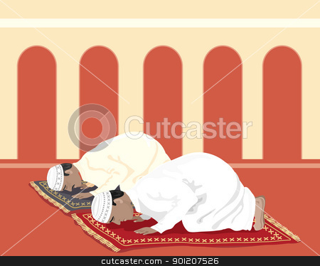 muslims praying stock vector clipart, an illustration of two muslims praying on prayer mats in a mosque by Mike Smith