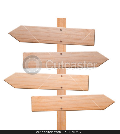 Arrow signs isolated, with clipping path. stock photo, Arrow signs made out of wood isolated, with white background and clipping path. by Pablo Caridad