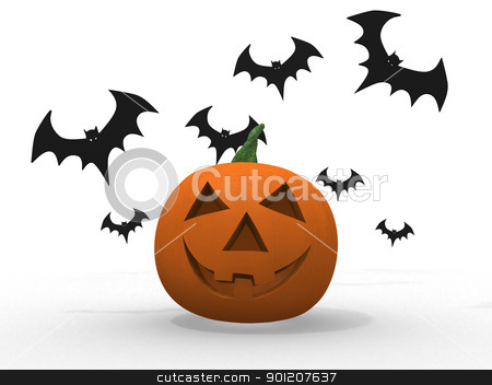 halloween pumpkin and bats isolated on white  stock photo, halloween pumpkin and bats isolated on white  by dacasdo