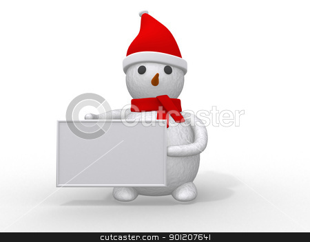 snowman with Santa Claus hat isolated on white background  stock photo, snowman with Santa Claus hat isolated on white background  by dacasdo