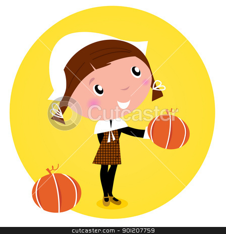 Cute Thanksgiving / Pilgrim Girl with pumpkin head - isolated on stock vector clipart, Cute Thanksgiving / Pilgrim Girl with pumpkin head - isolated on white. Vector cartoon Illustration.  by BEEANDGLOW