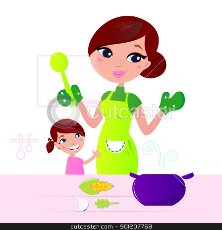 Mother cooking healthy food with child in kitchen  stock vector clipart, Mom and child cooking together in kitchen. Vector Illustration.  by BEEANDGLOW