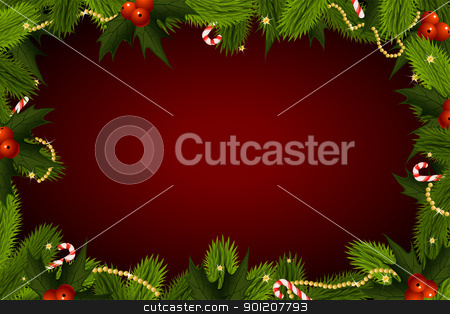 Christmas Background stock vector clipart, Winter Christmas frame with fir-tree and mistletoe by Vadym Nechyporenko
