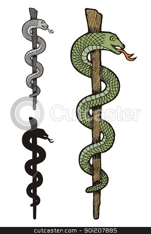 One snake caduceus stock vector clipart, Illustration of three versions of one snake caduceus, colored, silhouette and gray scale. by fractal.gr