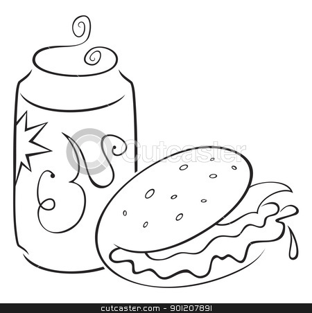 Fast food stock vector clipart, Sketch of fast food isolated on white by Oxygen64