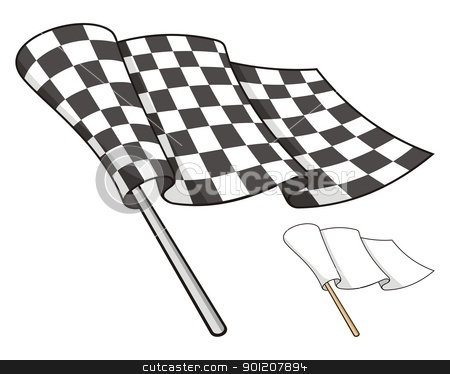Checkered flag stock vector clipart, Waving checkered flag isolated on white background, also a white peace flag. by fractal.gr