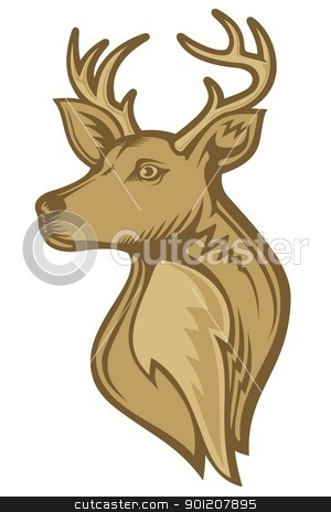 Deer head stock vector clipart, Deer head illustration with brown tones isolated on white background. by fractal.gr