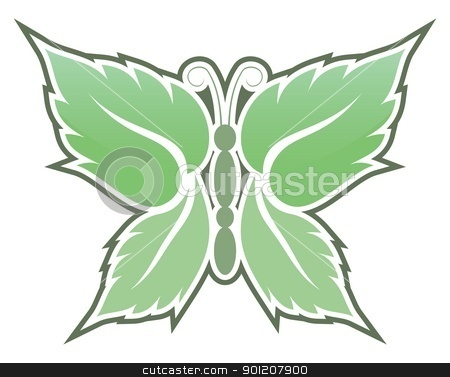 Mint butterfly stock vector clipart, Butterfly made with mint leaves icon isolated on white background. by fractal.gr