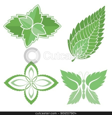 Mint leaves icons stock vector clipart, Four green mint leaves icons isolated on white background. by fractal.gr