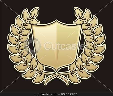 Wreath with shield stock vector clipart, Wreath and shield icon isolated on black background. by fractal.gr
