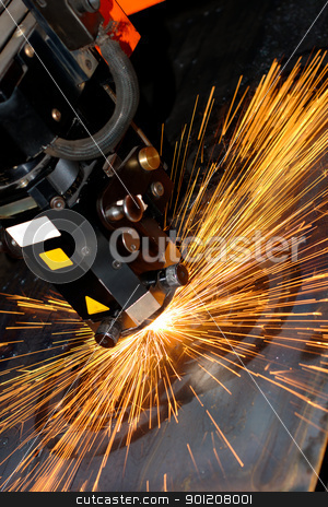 Industrial laser stock photo, Industrial laser with sparks flying around by rosspetukhov