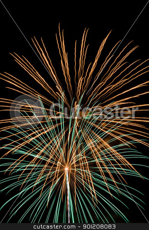 Fireworks stock photo, Firework streaks in the night sky during celebrations. by Homydesign