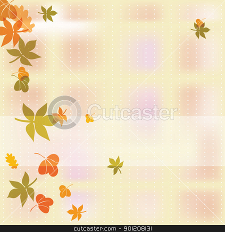 Autumn background stock vector clipart, Autumn background with colorful leafs, eps10 vector illustration by Milsi Art