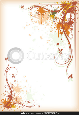 Autumn background stock vector clipart, Autumn background grunge floral composition, eps10 vector illustration by Milsi Art