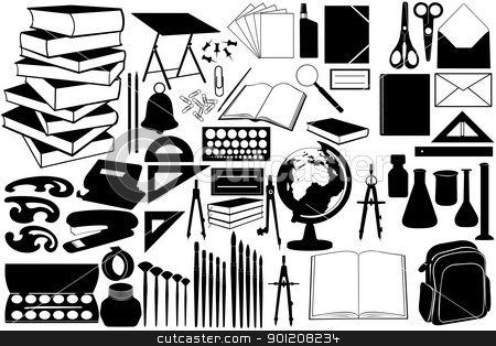 Different objects stock vector clipart, Different objects for school isolated by Ioana Martalogu