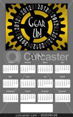 Gear up 2012 Annual Calendar Medium Image stock photo, Gear Up Image 2012 Promotional Annual Calender with Blank Open Copy Area (Medium Image) by Snap2Art