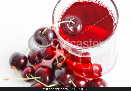 Berry juice stock photo, Berry juice in glass on white background by manaemedia