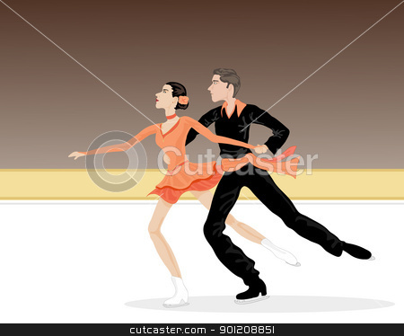 ice dancers stock vector clipart, an illustration two ice dancers skating on a rink with black and orange costumes by Mike Smith