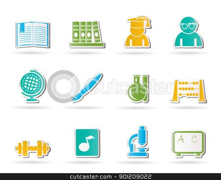 school and education icons stock vector clipart, school and education icons - vector icon set by Stoyan Haytov