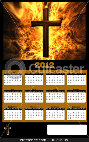 2012 Flaming Christian Cross Calendar stock photo, 2012 Flaming Christian Cross on Black Background Calendar by Snap2Art