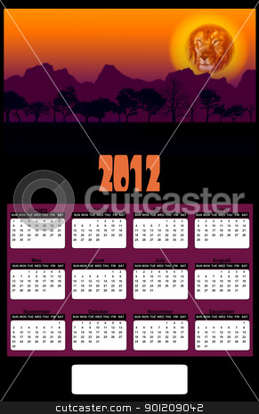 2012 African Lion Head Sunset Calendar stock photo, 2012 African Lion Head and Tree Silhouette Sunset Calendar by Snap2Art