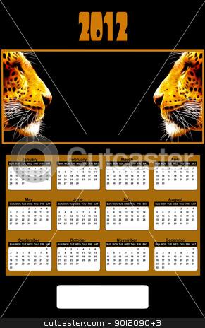 2012 Neon African Leopard Heads Calendar stock photo, 2012 Neon African Leopard Heads Calendar (place company logo between two Leopards) by Snap2Art