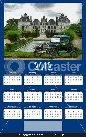 2012 Vintage Car Calendar stock photo, 2012 Vintage Car on Dark Blue Background Calendar by Snap2Art