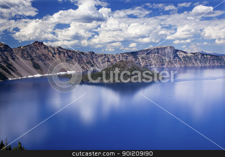 Wizard Island Crater Lake Reflection Clouds Blue Sky Oregon stock photo, Crater Lake Reflection, Wizard Island, Clouds Blue Sky Oregon Pacific Northwest by William Perry