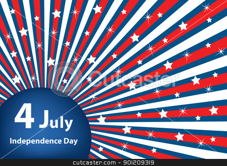4 July independence day background stock vector clipart, American flag background colors with stars and stripes symbolizing 4th july independence day by toots77