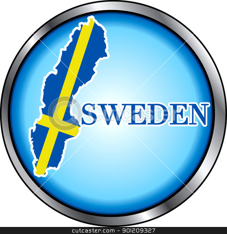 Sweden Round Button stock vector clipart, Vector Illustration for the Sweden, Round Button. by Basheera Hassanali