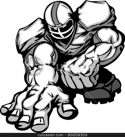 Football Player Lineman Vector Cartoon stock vector clipart, Cartoon Vector Silhouette of a Cartoon Football Player Crouching by chromaco