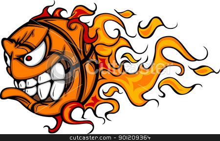 Flaming Basketball Face Vector Cartoon stock vector clipart, Cartoon Vector Image of a Flaming Basketball with Angry Face by chromaco