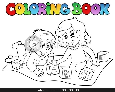 Coloring Book With Kids And Bricks Stock Vector