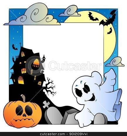 Frame with Halloween topic 1 stock vector clipart, Frame with Halloween topic 1 - vector illustration. by Klara Viskova