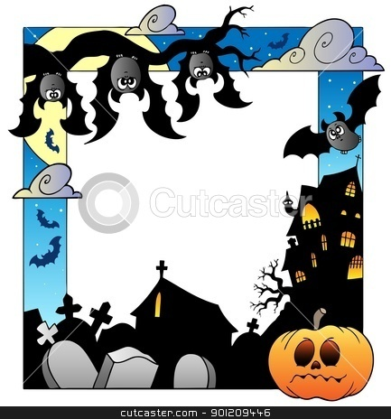 Frame with Halloween topic 5 stock vector clipart, Frame with Halloween topic 5 - vector illustration. by Klara Viskova