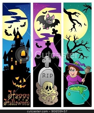 Halloween banners set 6 stock vector clipart, Halloween banners set 6 - vector illustration. by Klara Viskova