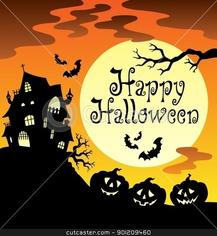 Happy Halloween theme with Moon 1 stock vector clipart, Happy Halloween theme with Moon 1 - vector illustration. by Klara Viskova