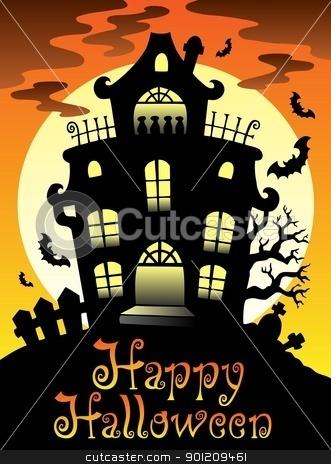 Happy Halloween theme with Moon 2 stock vector clipart, Happy Halloween theme with Moon 2 - vector illustration. by Klara Viskova