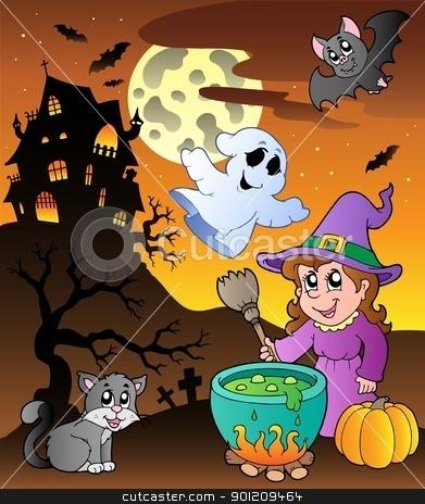 Scene with Halloween theme 1 stock vector clipart, Scene with Halloween theme 1 - vector illustration. by Klara Viskova