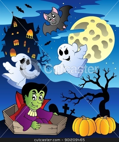 Scene with Halloween theme 2 stock vector clipart, Scene with Halloween theme 2 - vector illustration. by Klara Viskova