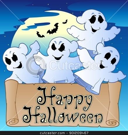 Theme with Happy Halloween banner 2 stock vector clipart, Theme with Happy Halloween banner 2 - vector illustration. by Klara Viskova
