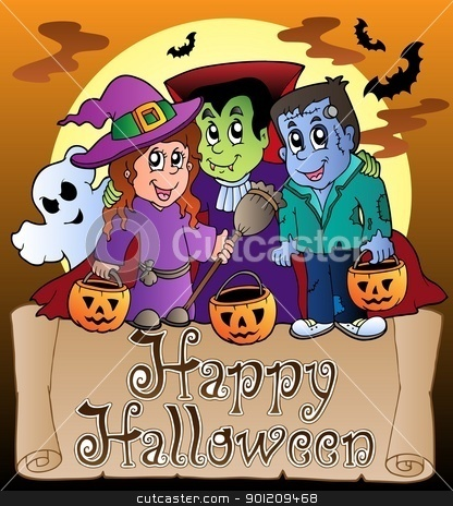 Theme with Happy Halloween banner 3 stock vector clipart, Theme with Happy Halloween banner 3 - vector illustration. by Klara Viskova