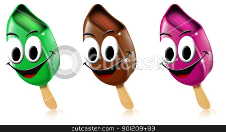 Cartoon colored ice creams with smile stock photo, Three cartoon colored ice creams with smile on a white background by catalby