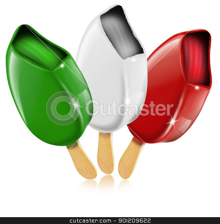 Ice cream made in Italy stock photo, Three ice cream white, red, green made in Italy, italian flag by catalby