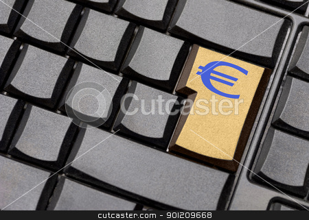 euro sign computer key stock photo, euro sign computer key by sielemann