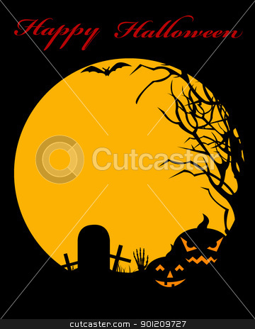 Halloween illustration stock vector clipart, Halloween illustration with moon in background by Ioana Martalogu