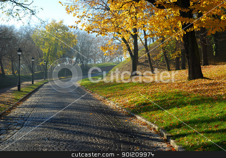 Autumn morning stock photo, Beautiful morning in the village with colorful fall leafs by zagart