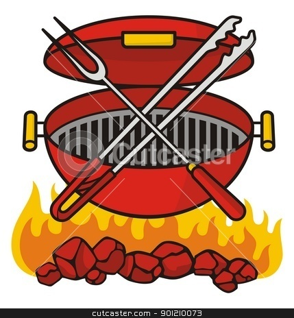 Barbeque grill stock vector clipart, Barbeque grill over flaming charcoal with crossed fork and tongs. by fractal.gr