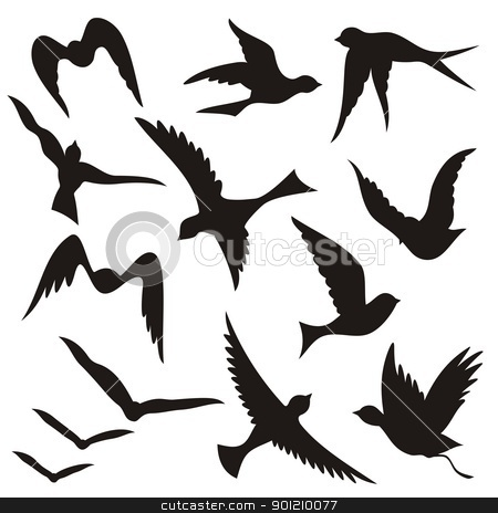Flying bird silhouettes stock vector clipart, A set of flying birds silhouettes isolated on white background. by fractal.gr