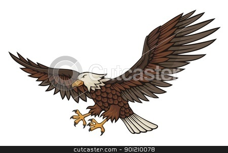 Eagle attacking stock vector clipart, Eagle attacking illustration isolated on white background. by fractal.gr